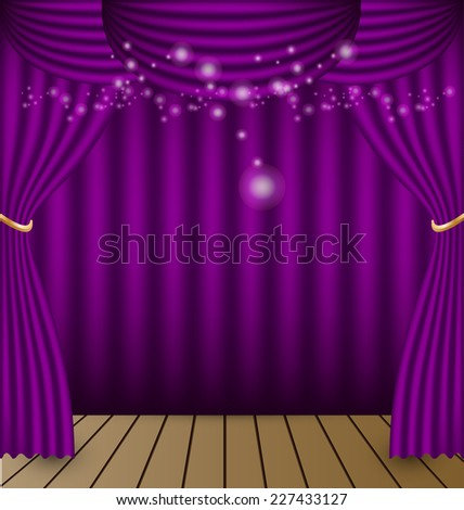 Purple curtains vector background stock vector
