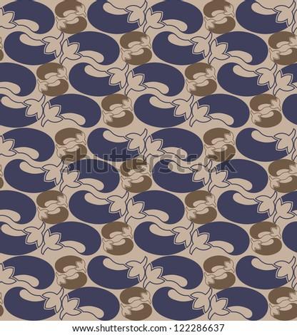 Purple cute eggplants stickers background. vector illustration - stock vector