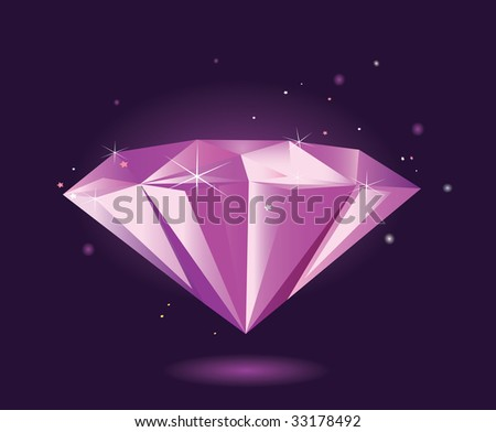 Purple diamond VECTOR. Perfect diamond in vector format. Gem is making with gradients. - stock vector