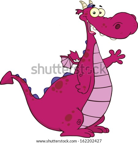 Purple Dragon Cartoon Mascot Character Waving For Greeting. Vector Illustration Isolated on white - stock vector