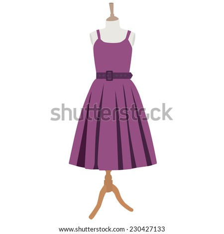Purple dress, dress on mannequin, clothes, vintage - stock vector