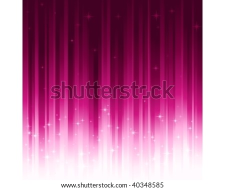 Purple festive background with stars. Stripes controlled by 1 linear gradient. Use of 10 global colors. Can be tiled horizontally to custom size. - stock vector