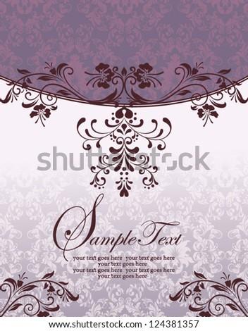 Purple Floral  Bridal Shower Invitation - stock vector