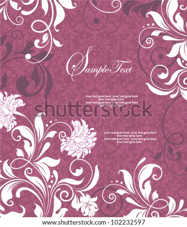 Purple Floral Swirls Wedding Invitation - stock vector