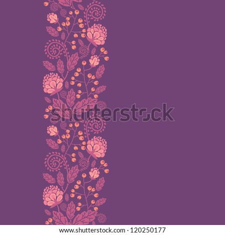 Purple flowers and berries vertical seamless pattern border - stock vector