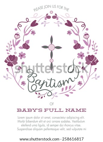 Purple Girl's Baptism/Christening Invitation with Cross Design and Flowers - Vector  - stock vector