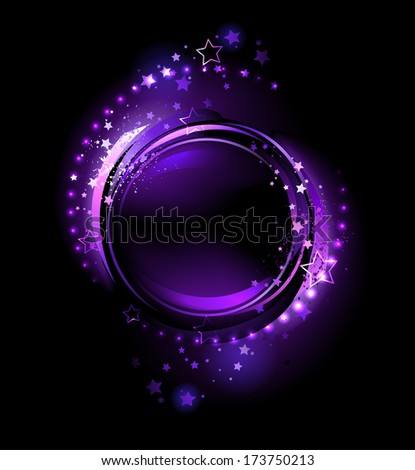 purple, glowing , round banner , decorated with stars on a black background. - stock vector
