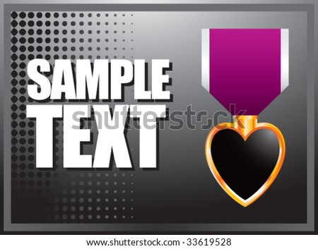 purple heart medal on black halftone banner - stock vector