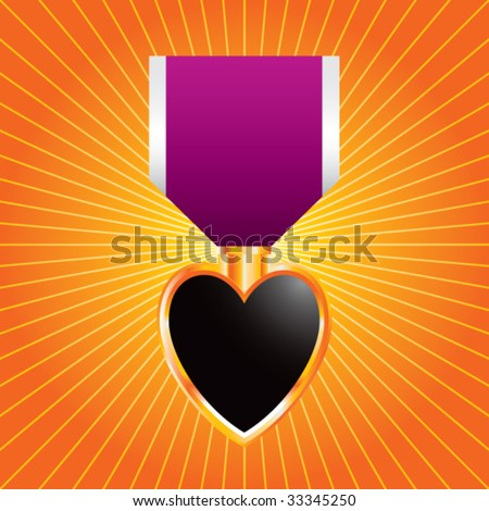 purple heart medal on orange starburst - stock vector