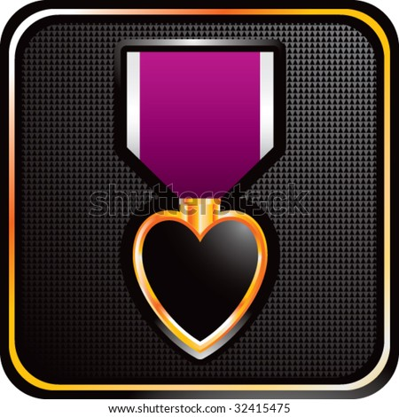 purple heart medal on square icon - stock vector