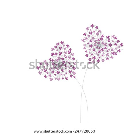 purple heart shaped dandelion valentines day eps10 - stock vector