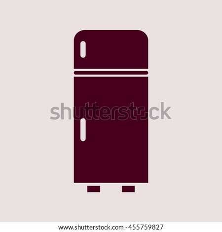 Purple Icon of Refrigerator. Eps-10. - stock vector