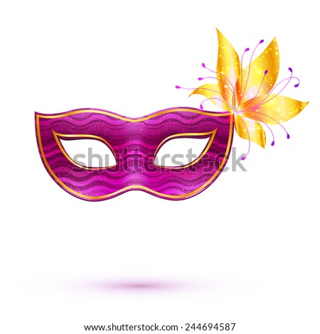 Purple isolated vector carnival mask with golden flower - stock vector
