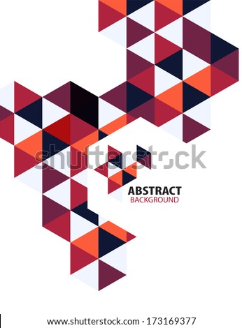 Purple mosaic triangle business template - stock vector