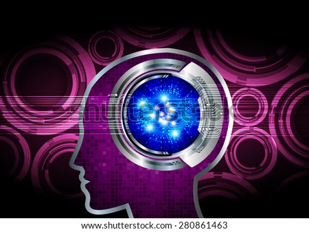 purple Neon human head. CPU. blue Circuit board. Vector illustration. Abstract Technology background for computer graphic website internet and business. infographics. - stock vector