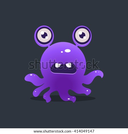 Purple Octopus Alien Cute Childish Flat Vector Bright Color Drawing Isolated On Dark Background - stock vector