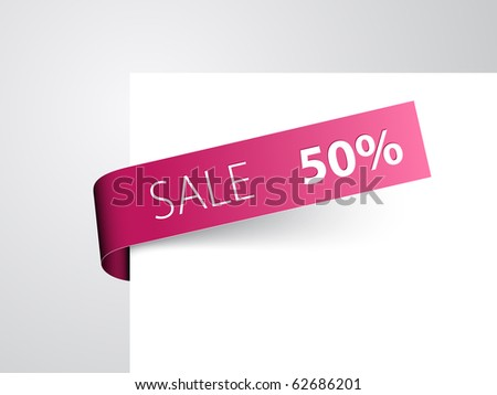 Purple paper tag - Vector sale announcement - stock vector