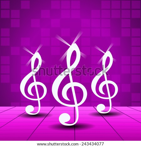 Purple Party background with treble clef - stock vector