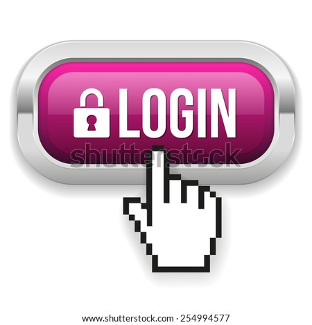 Purple Square Login Button With Metallic Border On White Background - stock vector