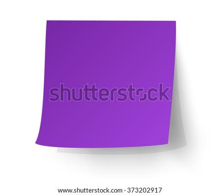 Purple sticky note, vector illustration. - stock vector