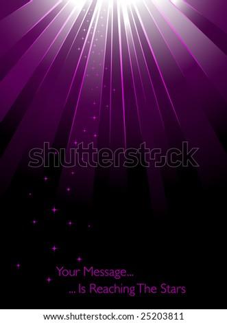 Purple sunburst with stars - stock vector