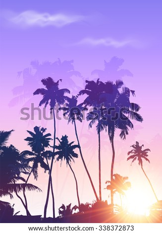 Purple sunset palms silhouettes vector poster background - stock vector