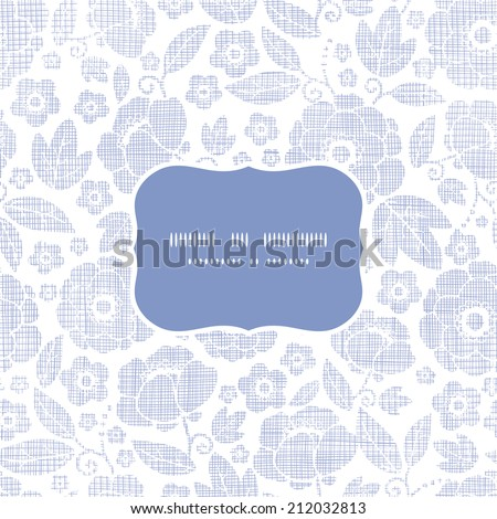 Purple textile flowers texture frame seamless pattern background - stock vector