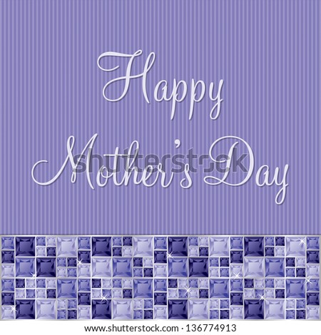 Purple two toned Mother's Day gem card in vector format. - stock vector