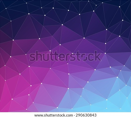 Purple vector background with triangles, triangle design - stock vector