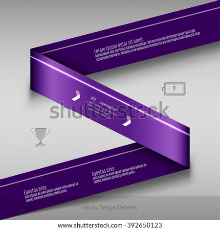 Purple vector infographics design. Infographic for presentation, banner web design, flyers or design elements. Infographic ribbons. The same illustration without sample texts in my portfolio. - stock vector