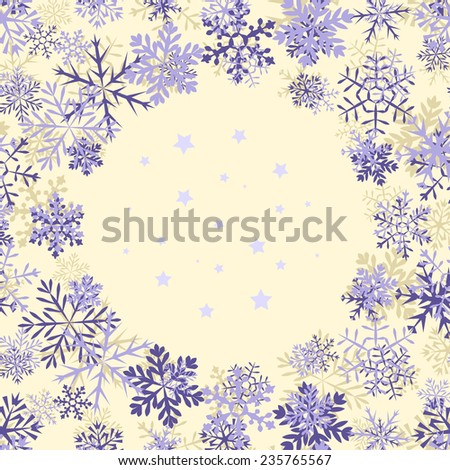 Purple vintage background with round space for text and snowflakes. Can be used as greeting card for Christmas and new year - stock vector