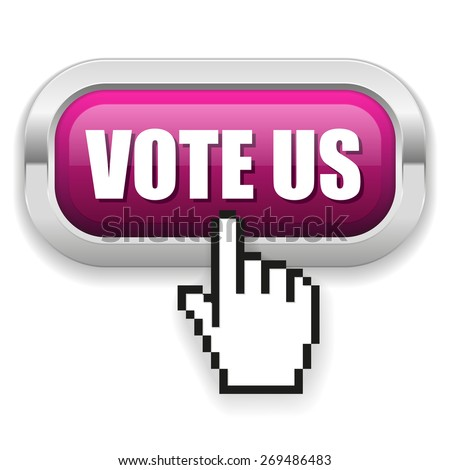 Purple vote us button with metal border on white background - stock vector