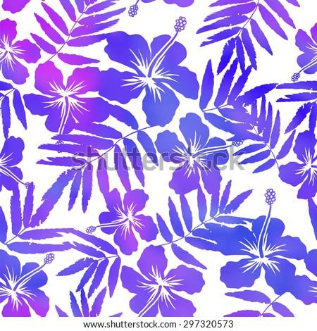 Purple watercolor vector hibiscus seamless pattern - stock vector