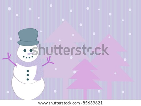 Purple winter background with snowman - stock vector