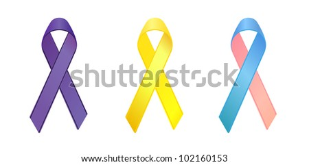 purple,yellow, blue and pink ribbons as symbols of general cancer, bone cancer, infertility awareness - stock vector