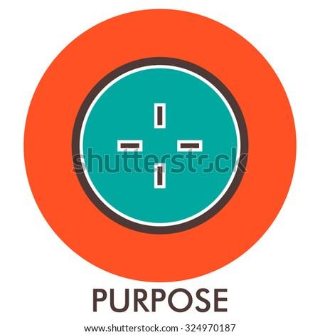 Purpose. sight. sense of purpose. Line icon with flat design elements. Flat icon. Flat Design. Icon concept.  - stock vector