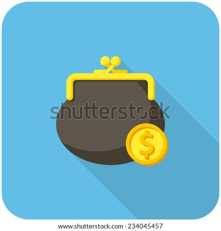 Purse and coin, modern flat icon with long shadow - stock vector