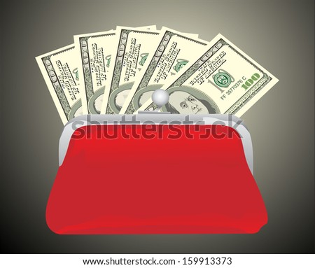 Purse with hundred dollar banknote isolated on grey background  - stock vector