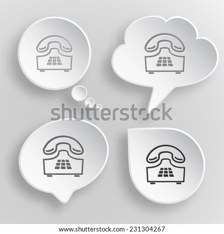 Push-button telephone. White flat vector buttons on gray background. - stock vector