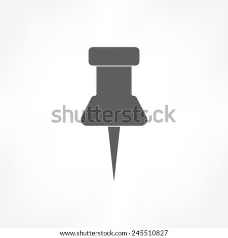 push pin icon - stock vector