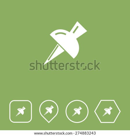 Push Pin Icon on Flat UI Colors with Different Shapes. Eps-10. - stock vector