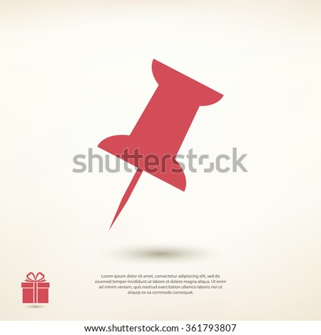 push pin icon, vector illustration. Flat design style - stock vector