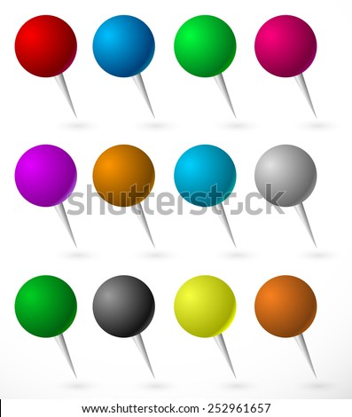Push pin, thumbtack set with sphere heads. Several colors. - stock vector