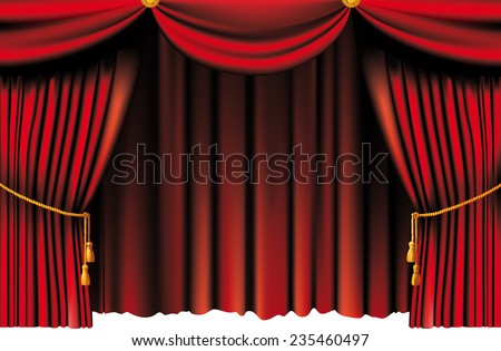 push the red theater curtain with tassels and cord - stock vector