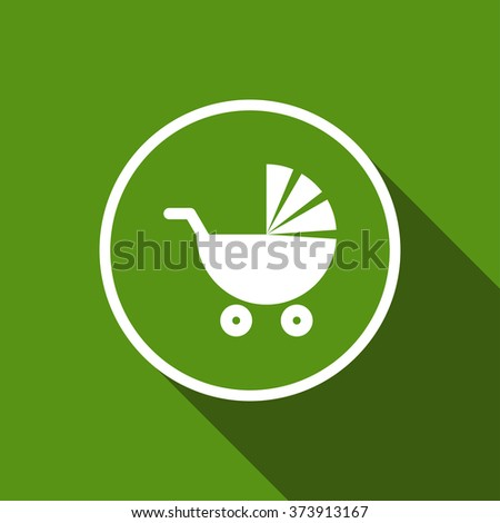 pushchair, baby pram flat icon with long shadow. vector illustration - stock vector
