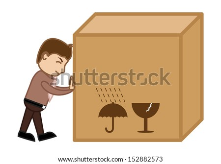 Pushing a Big Box - Business Cartoon - stock vector
