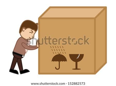 Pushing a Big Box - Business Cartoon - stock vector
