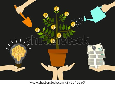 Put creativity and performance your fund with good care. Make your investments increased. - stock vector