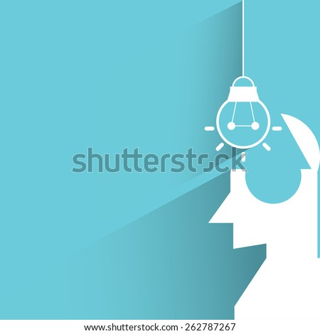 putting a light bulb in to the brain - stock vector