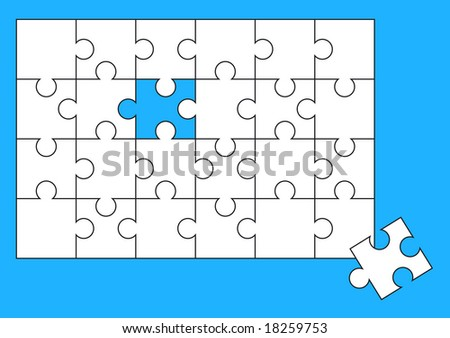 Puzzle almost solved isolated over a blue background - stock vector